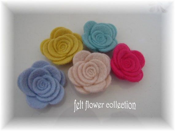 Wool Felt Flower- 10 pcs Tiny Wool Felt Posey NO.2 -Collection or Pick Your Own Colors