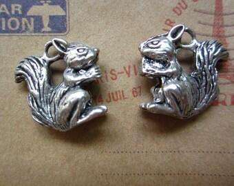 5pcs 21x20mm antique silver squirrel animal charms pendant B349