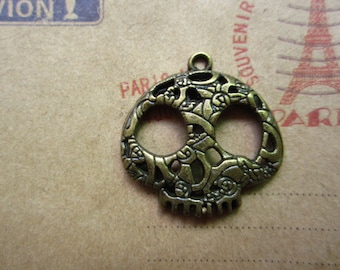 10pcs 28x28mm antique bronze skull  skeleton charms pendant  C3185