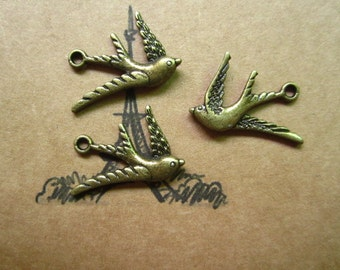 20pcs 26x16mm antique bronze swallow bird charms pendant R26473