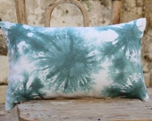 Green Ivory hand painted batik cotton lumbar pillow cover