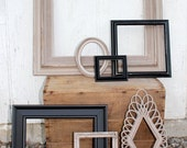Black and Tan Chic Frame Gallery - Open Upcycled Frames - 7 Piece