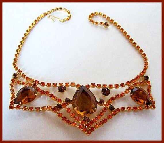 Vintage Statement Necklace Chunky Bib Orange Brown Rhinestones Gold Metal Juliana Style