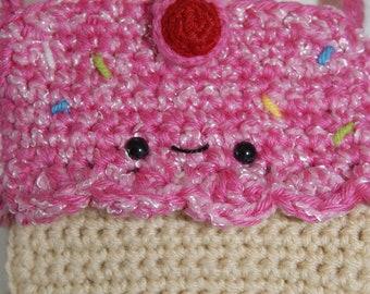 Cupcake Crochet Hip Purse - Crochet Purse-Crochet-Bags-Pink-Women Accessories-Kawaii