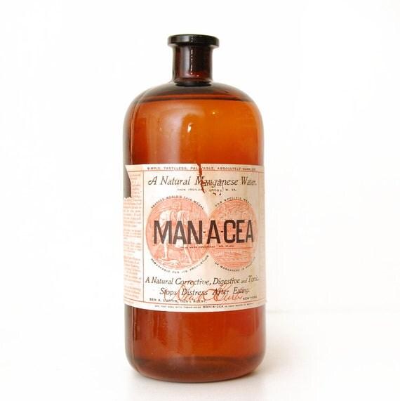 SALE Vintage NOS Man-A-Cea Sealed Amber Bottle