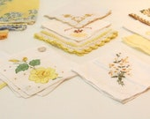 Vintage Set of 6 Shades of YELLOW Hankie collection lot half dozen for tea party Napkins baby wedding bridal shower party favors Happy Tears