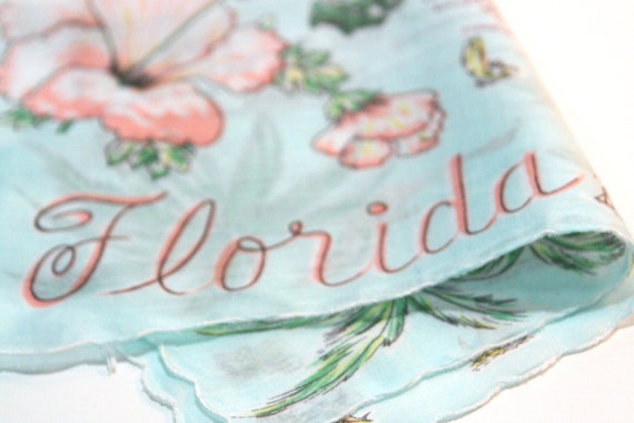Vintage Florida Souvenir Hankie sea blue turquoise with pink flamingos and state map Caribbean blue water