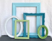Coastal Painted Frames Collection with Glass - Aqua Teal Greens and White.. Upcycled Ornate Frames