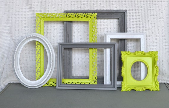 Lime Green Grey Gray White Ornate Frames Set Of 6 By BeautiSHE