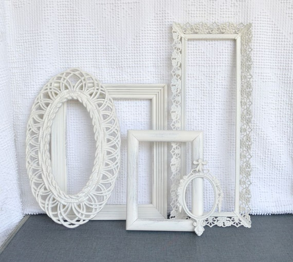 Shabby Chic Ornate Heirloom White Vintage Painted Frame Set of 5 - ... Upcycled painted frames