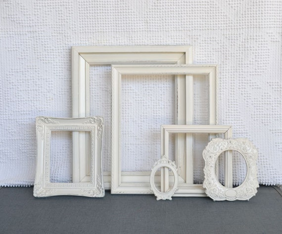 Shabby Chic Ornate Heirloom White Vintage Painted Frame Set of 6 - ... Upcycled painted OPEN frames