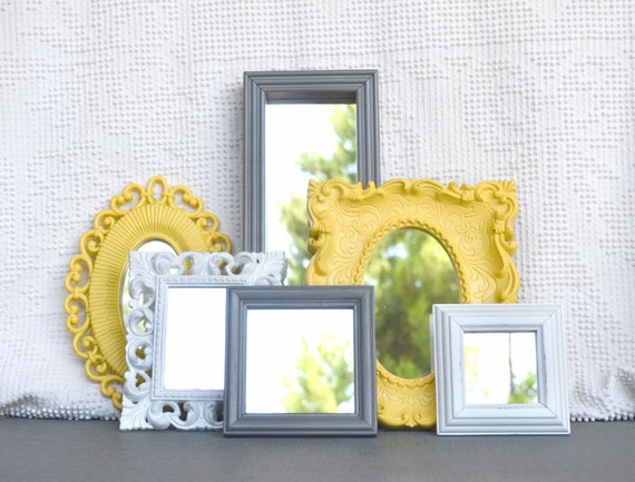 Yellow Grey/Gray White Ornate Upcycled 6 Mirrors collection.... Painted Modern Mirror set of 6