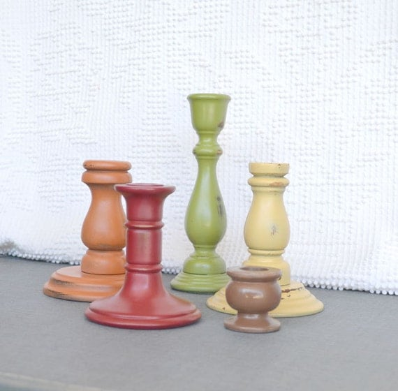 Fall wood candleholders fall harvest thanksgiving home for Oxford turned wood candle holders