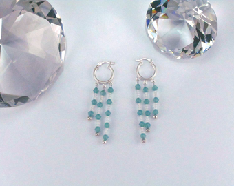 Teal and White Swarovski Crystal Hoop Earrings