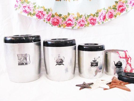 Vintage Aluminum Kitchen Canisters Organizers Set-ATOMIC Retro MIDCENTURY Rat Pack SPACEAGE Mod-1950's Westbend