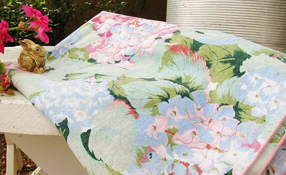 RESERVED 4 Lovely Sharon //Beautiful Aqua MINT Hydrangeas Fabric // Pink Rose Tiffany Blue Lilac // Tablecloth/Shabby Cottage Farmhouse CHIC