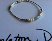 Handmade silver plate tube arm candy amazonite and bone beads with silver cystal bangle bracelet