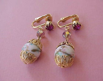 Lovely Vintage Dangling Earrings with Art Glass Beads and Fuchsia Rhinestones