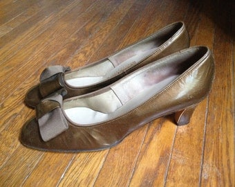 Brown Gold Patent Pumps