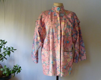 Hand Painted Australian Jacket, Vintage Rooftop Clothing Marble, OOAK Art to Wear, circa 1980