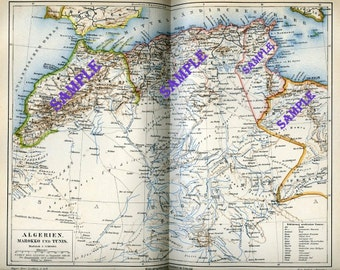 1894 Vintage Bookplate Map of Algeria, Morocco and Tunis from German Lexicon