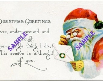 Digital Download-Santa Reads Letter-Vintage Christmas Postcard