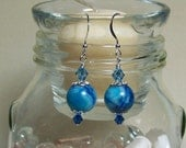 Blue Earrings. Blue Crazy Lace Agate and Swarovski Crystals. Sterling Silver.