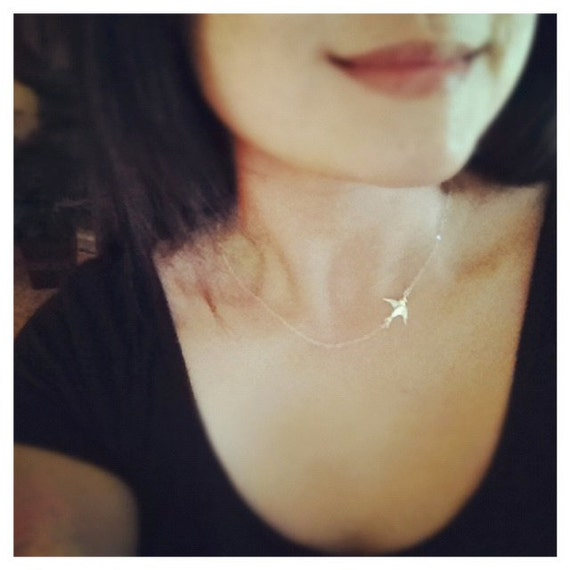 Swallow Bird Necklace / Bird Sideways Necklace / Bird Necklace/ All Sterling Silver, Simple, Everyday Jewelry, Mothers Gift, Best Friends