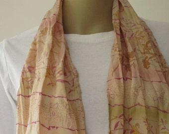 SALE Hand painted Silk Scarf, Vintage Silk Scarf