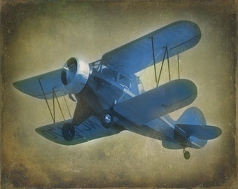 Vintage Antique Blue Gray Airplane Art Print - Nursery Boy Childrens Room Decor Aviation Biplane Flying Gray Photograph