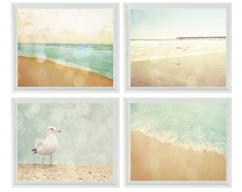Beach Art Print Set - SALE 25% OFF - Bokeh Aqua Beach House Wall Art Home Decor Pastel Ocean Bird Vintage Coastal Photographs