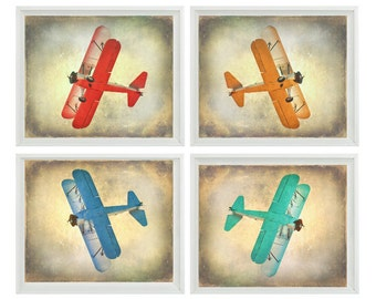 Vintage Airplane Art Print Set - SALE 25% OFF Nursery Boys Room Red Orange Aqua Blue Gray Biplane Flying Aviation Home Decor Photograph