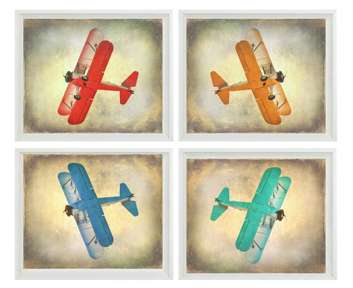 Vintage airplane art print set sale 25 off by Vintage airplane decor for nursery