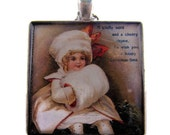 Resin Pendant, Christmas Wish, White, Red, Beige, 1 1/12 Inch, Square, For Her, Glitter