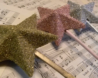 Vintage Inspired German Glass Glitter Star Wand