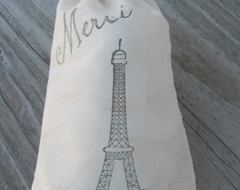 Set of 10 Hand stamped  Eiffel Tower Merci French Muslin Gift Favor Bags 100% organic made in america