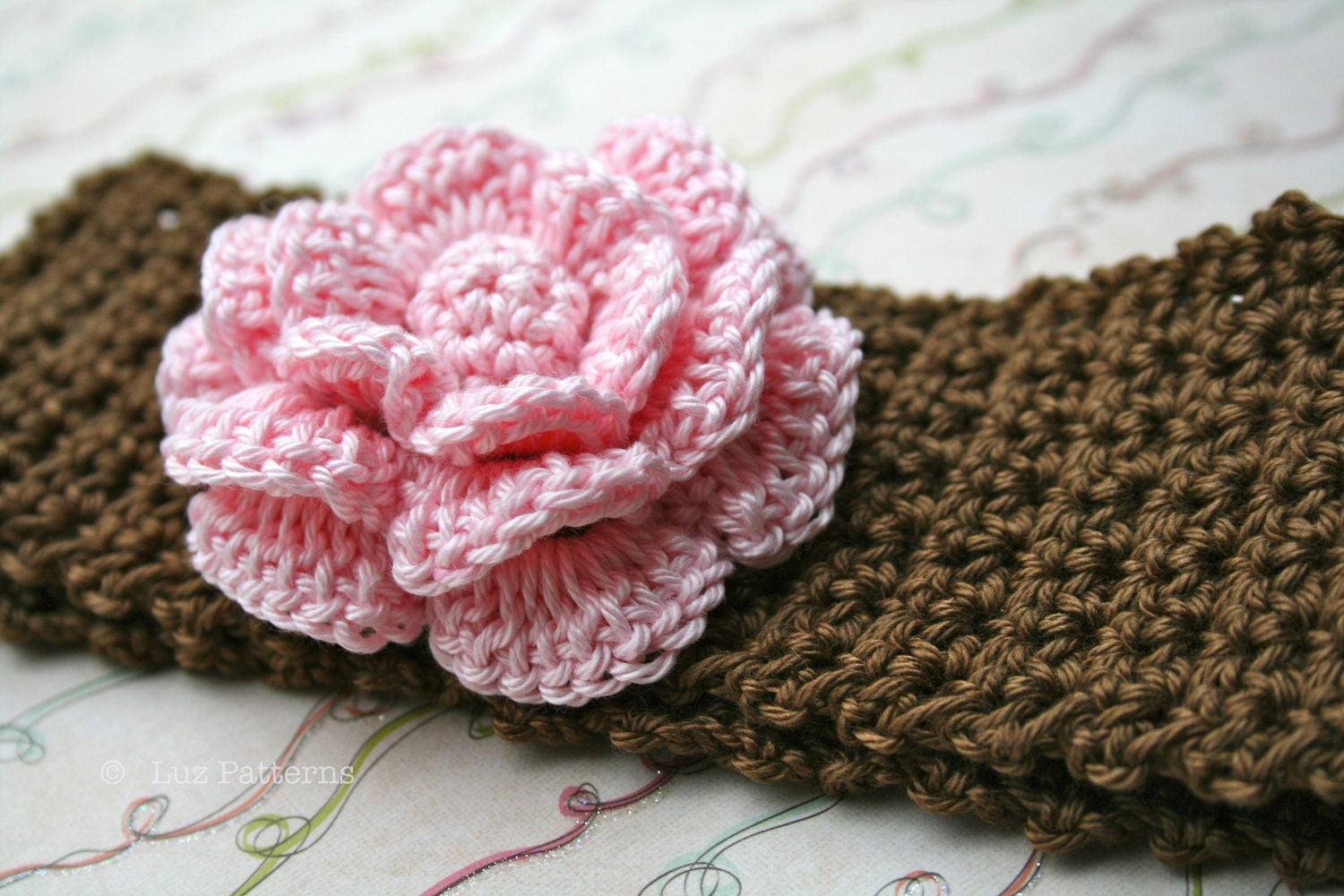Crochet Headband Pattern For Baby With Flower : Crochet patterns, baby headband pattern, INSTANT DOWNLOAD ...