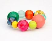 Chunky bracelet, bright summer colours, hot pink, aqua, lemon yellow, lime green, orange, emerald, sky blue, random.