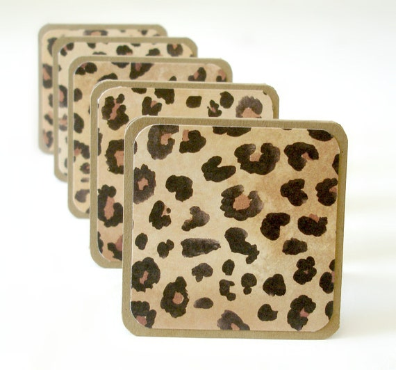 Leopard print handmade mini cards note cards lunchbox notes wild animal print Set of 8 mini cards