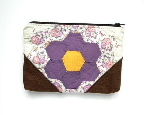 Recycled Quilt Clutch Pouch Purple Flower Garden
