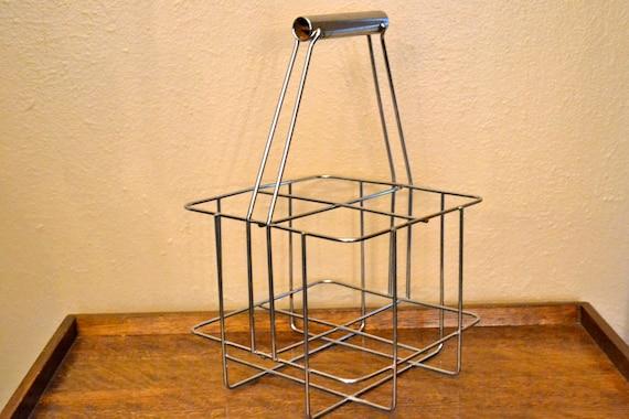 Vintage Industrial Metal Wire Milk Bottle Basket Carrier Holder Crate Shabby Chic