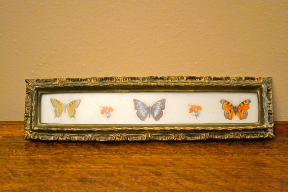 Vintage Butterfly Picture Ornate Gold Picture Frame Floral Shabby Chic