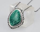 Amazonite and Sterling Silver Pendant Necklace - Splash - Overlay Technique - Organic Freeform Design