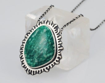 Amazonite and Sterling Silver Pendant Necklace - Splash - Overlay Technique - Organic Freeform Design