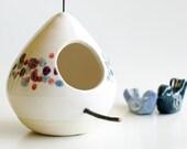 Polka Dots Ceramic Birdhouse