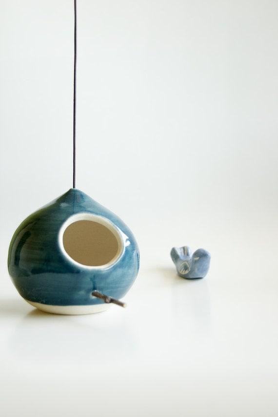 Ceramic Birdhouse in Teal