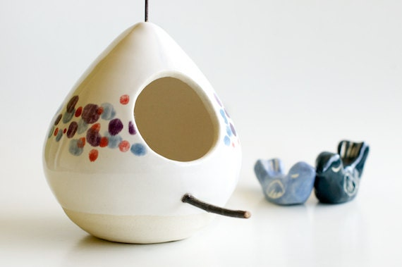 Polka Dots Ceramic Birdhouse