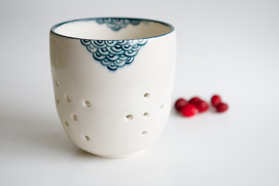 Teal Berry Colander- Handmade Ceramics by RossLab (made to order)