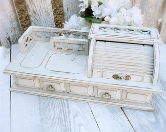 Upcycled Shabby Chic Gentlemans Vanity / Jewelry Box - Desk Organizer Caddy