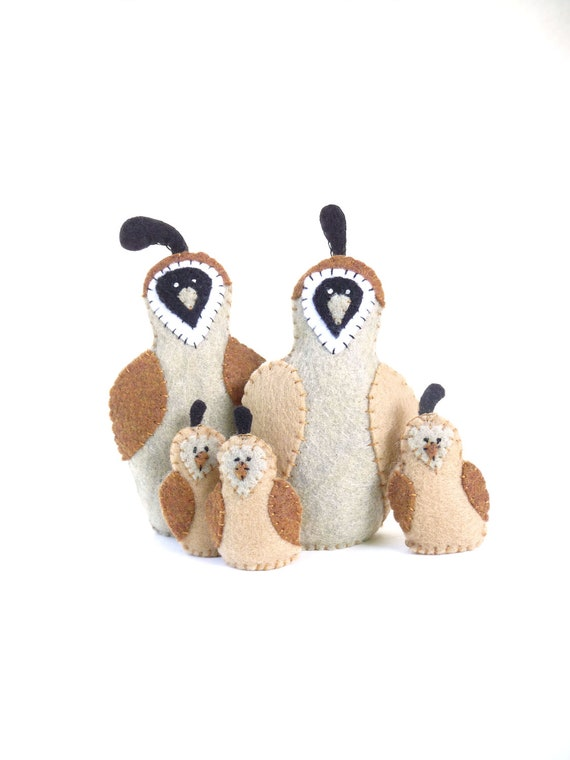 Quail family soft sculpture made with felt